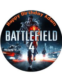 7.5 Battlefield 4 Personalised Icing or Wafer Paper Cake Top Topper
